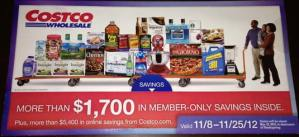 November 2012 Costco coupon book cover