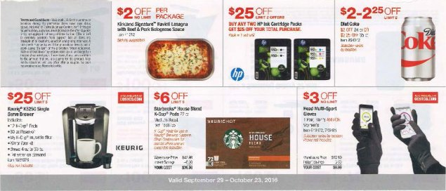 October 2016 Costco Coupon Book Page 1