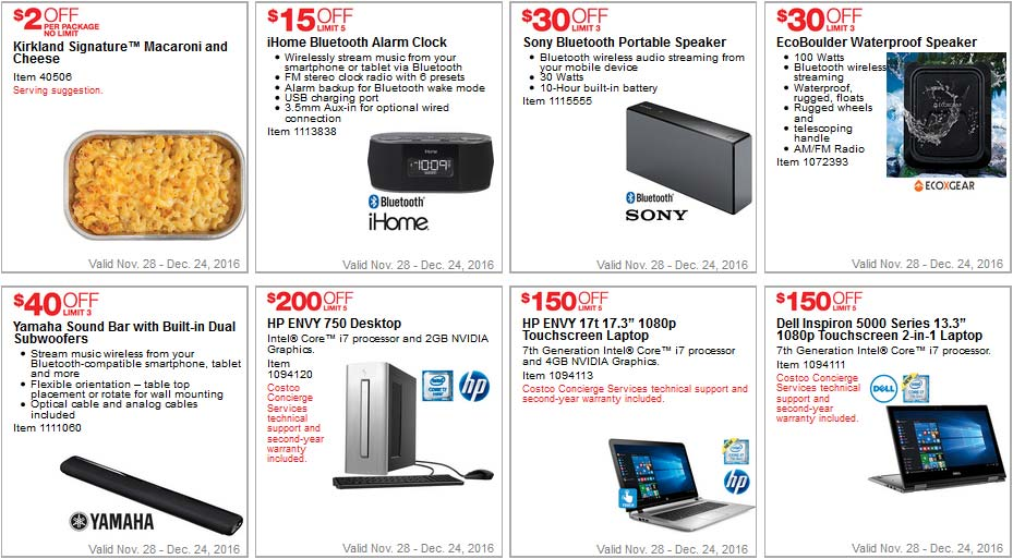 Great Costco Coupons December Page