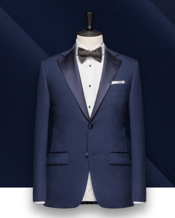 smoking bleu moyen tuxedo sur mesure paris, costume privé