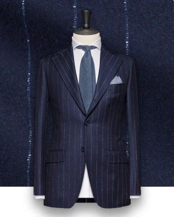 Costume bleu Flanelle rayures tailleur Paris costume sur mesure