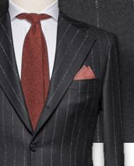 costume-gris-anthracite-flanelle-rayures-craie-costume sur mesure-zoom