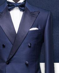 Smoking bleu croisé costume sur mesure zoom