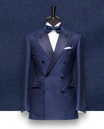 smoking bleu croisé tailleur sur-mesure