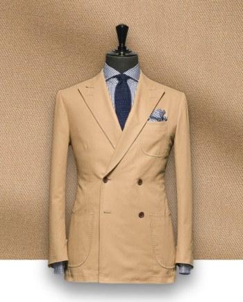 blazer beige sable croisé sur-mesure tailleur paris