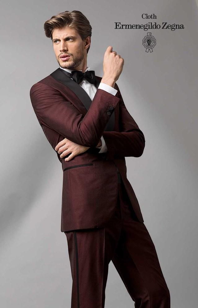 smoking zegna bordeaux tissu pour costume sur-mesure