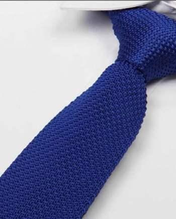 cravate tricot bleu roi maille cravate italienne
