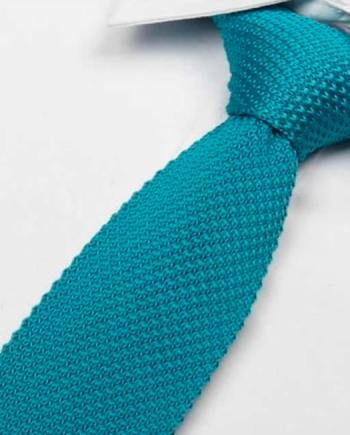 cravate tricot bleu turquoise maille cravate italienne