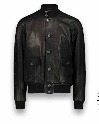 Blouson cuir noir A1 Cary costume privé paris fabrication sur mesure Italie