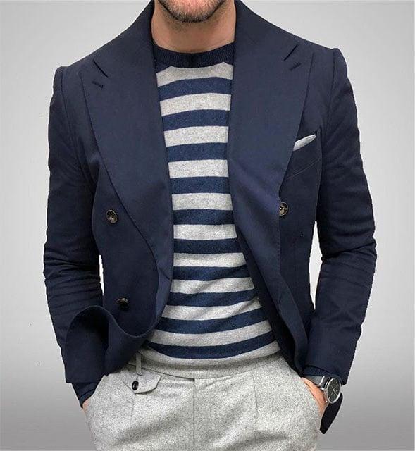 blazer costume bleu croisé italien
