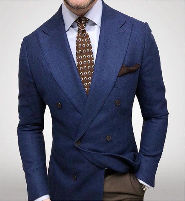 blazer costume bleu flanelle croisé