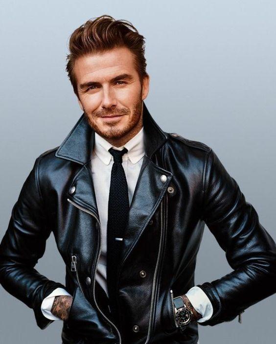 perfecto cuir noir David Beckham