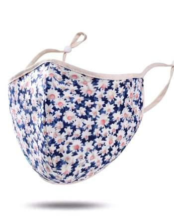 masque tissu bleu blanc fleurs