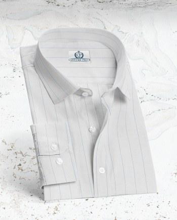 Chemise blanche larges Rayures sur-mesure tailleur paris