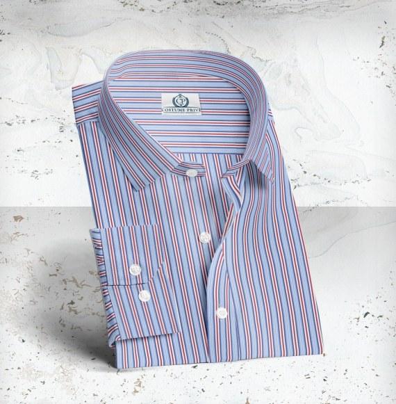 Chemise larges Rayures bleu rouge sur-mesure costume paris