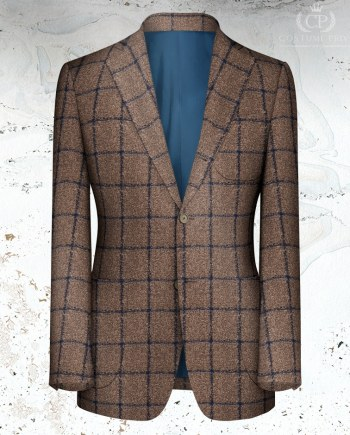 veste marron carreau bleu sur mesure paris tailleur