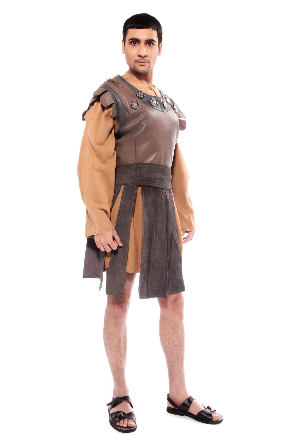 GLADIATOR COSTUME W BROWN LEATHER TUNIC