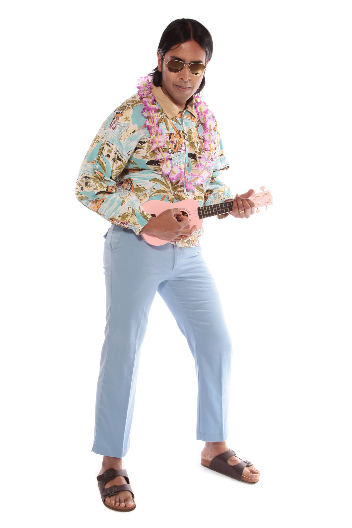 HAWAIIAN ELVIS COSTUME W GENUINE 50s BOMBER JACKET