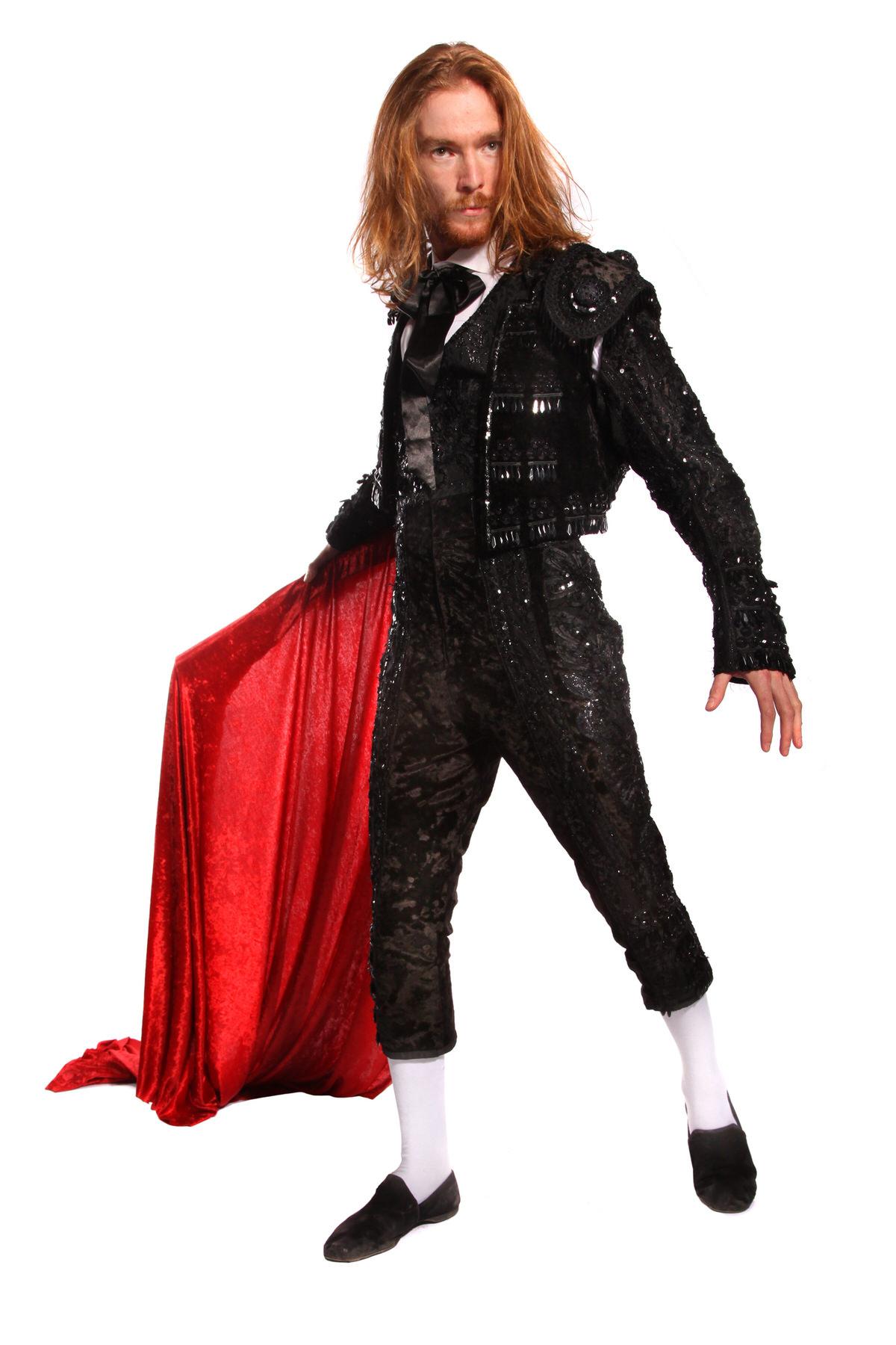 BLACK BEADED MATADOR COSTUME  W 3 PIECE SUIT