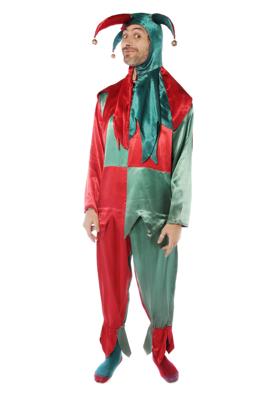 RED AND GREEN JESTER COSTUME W MATCHING HOOD