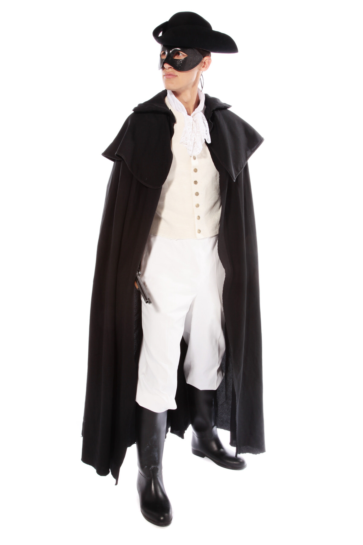 DICK TURPIN HIGHWAYMAN COSTUME W MASK & TRICORN HAT