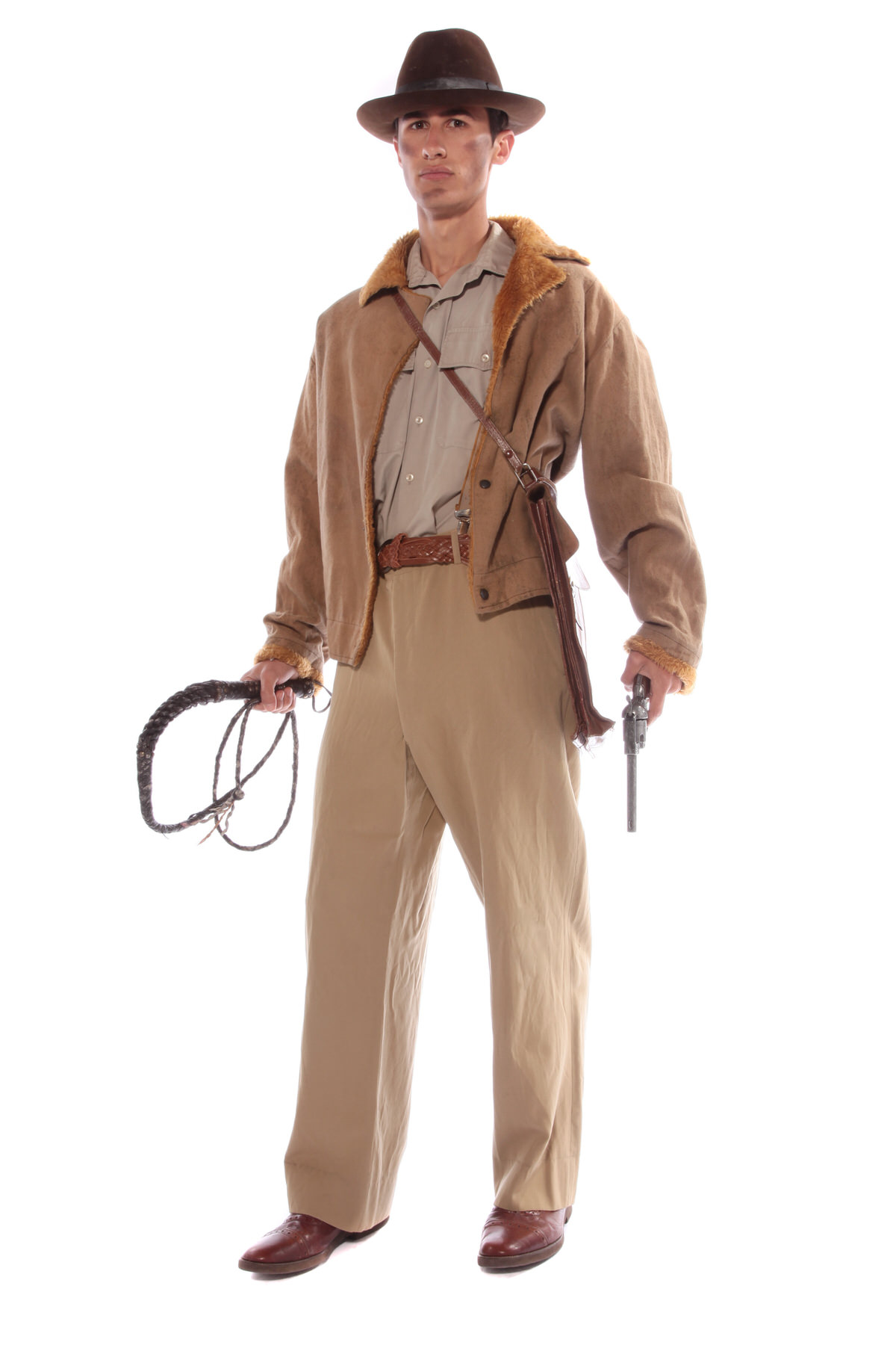 INDIANA JONES STYLE COSTUME W BULLWHIP & FAKE GUN