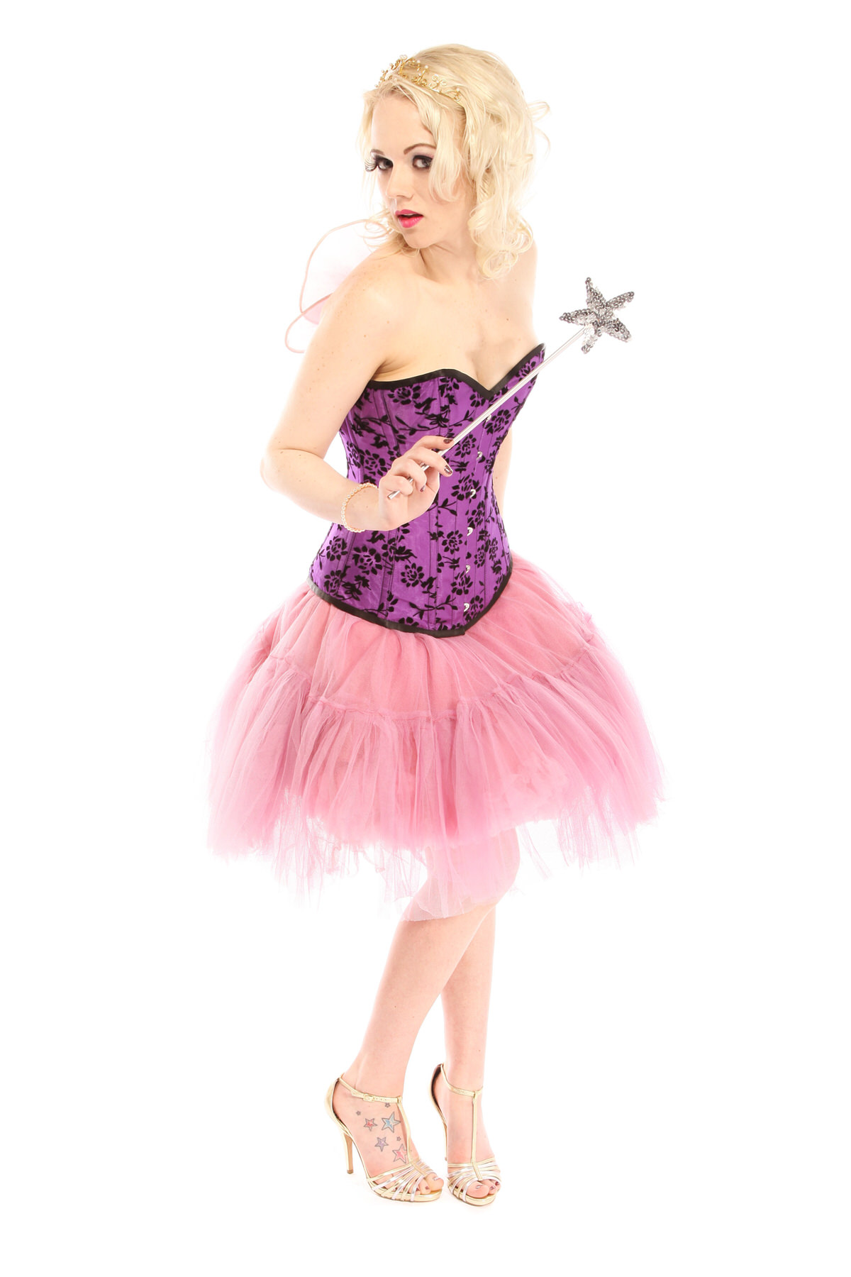 PURPLE AND PINK FAIRY COSTUME W PINK UNDERSKIRT & TU TU