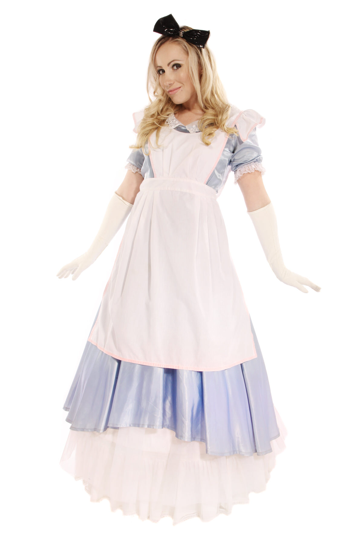 BLUE ALICE COSTUME W LONG WHITE GLOVES