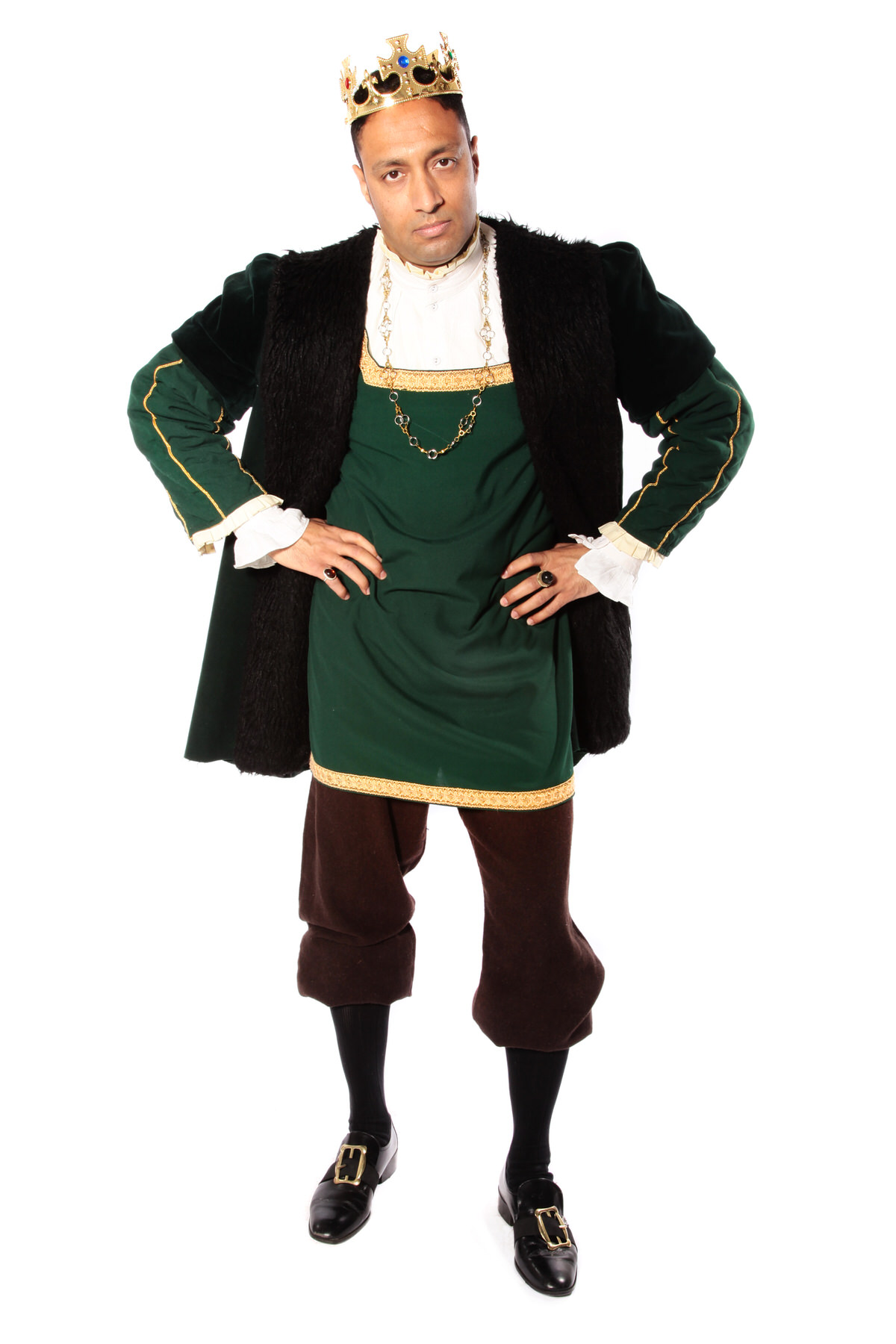 KING HENRY V111 STYLE COSTUME W GREEN DOUBLET
