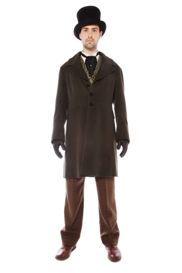 VICTORIAN GENT OLIVE GREEN AND BROWN COSTUME C