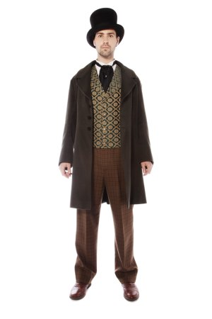 VICTORIAN GENT OLIVE GREEN AND BROWN COSTUME