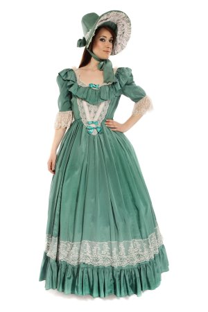 GEORGIAN GREEN DRESS COSTUME