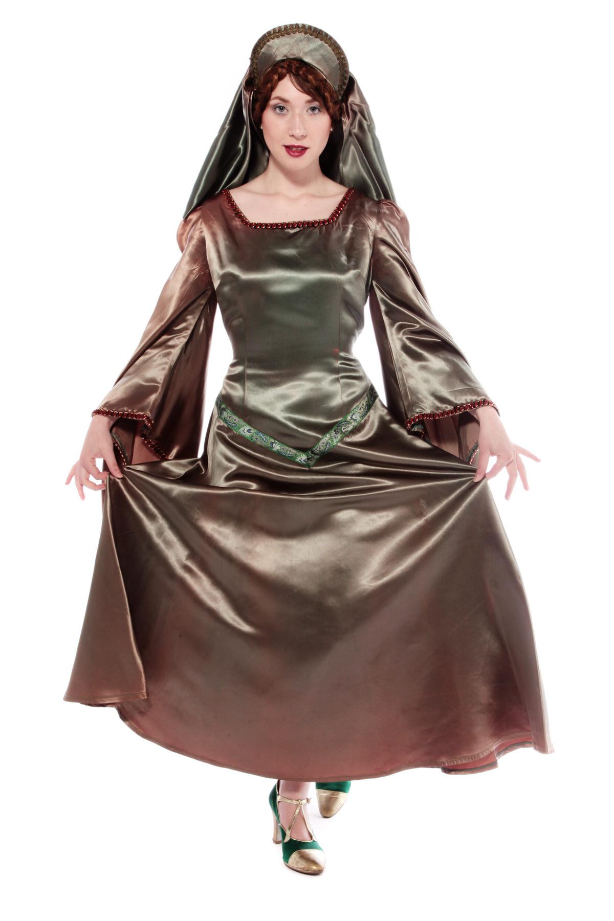 MAID MARIAN MEDIEVAL COSTUME W HEADDRESS & JEWELLERY
