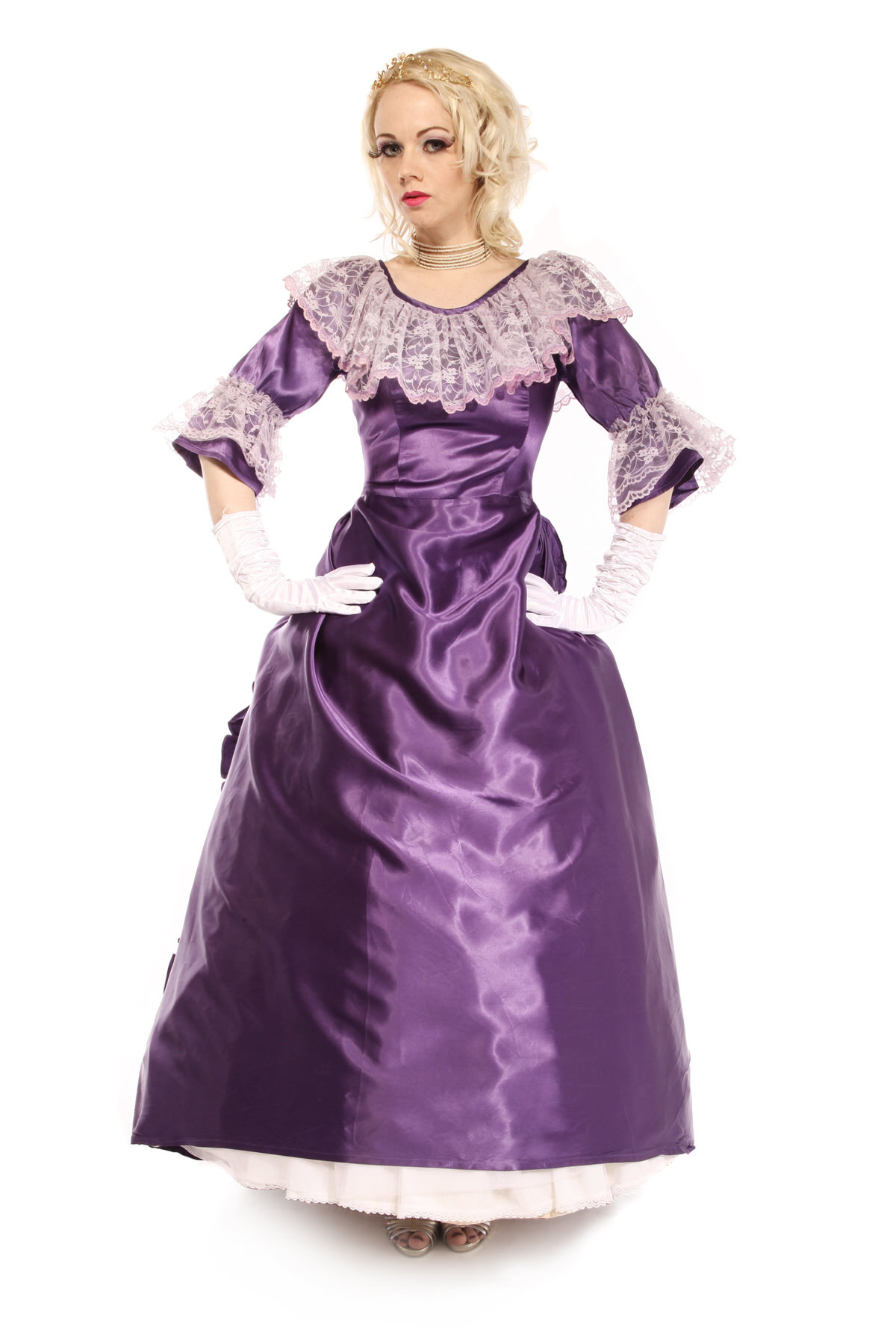 VICTORIAN SATIN GOWN PURPLE COSTUME W FLOWING TRAIN