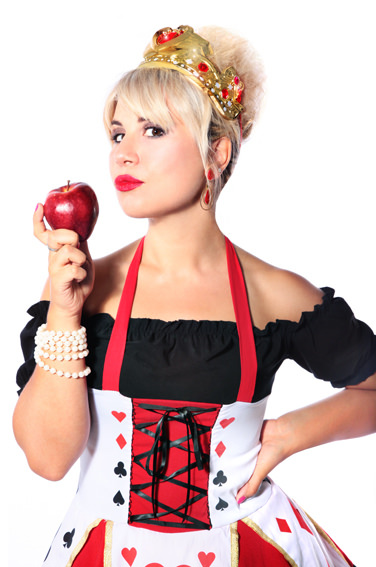 QUEEN OF HEARTS COSTUME W GOLD CROWN