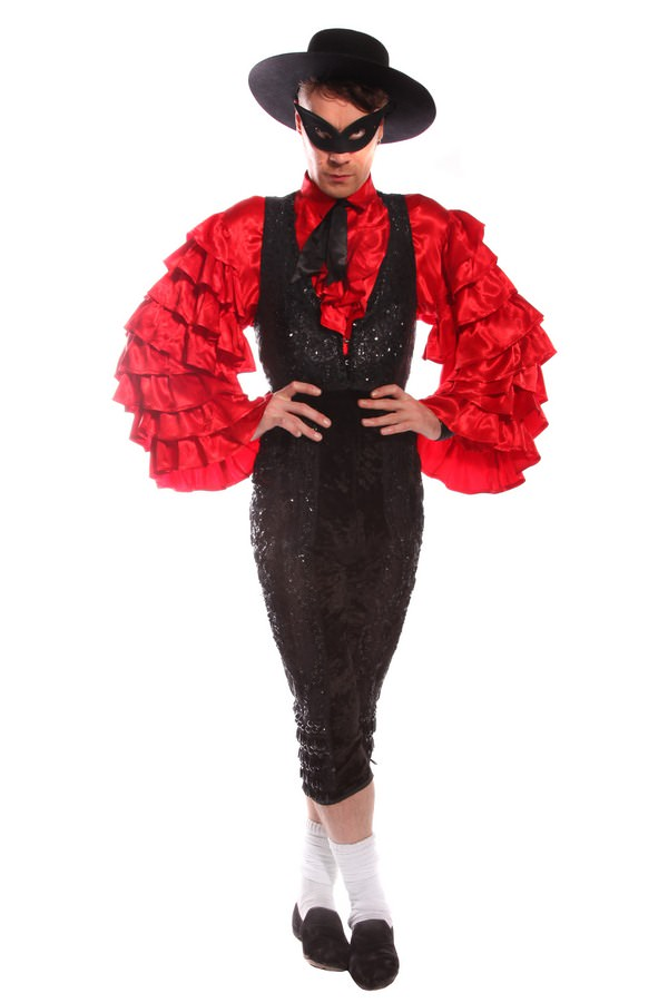 RED FRILLY SLEEVED MATADOR COSTUME W  WAISTCOAT