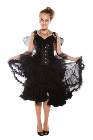 BLACK FAIRY CORSET TUTU AND WINGS COSTUME