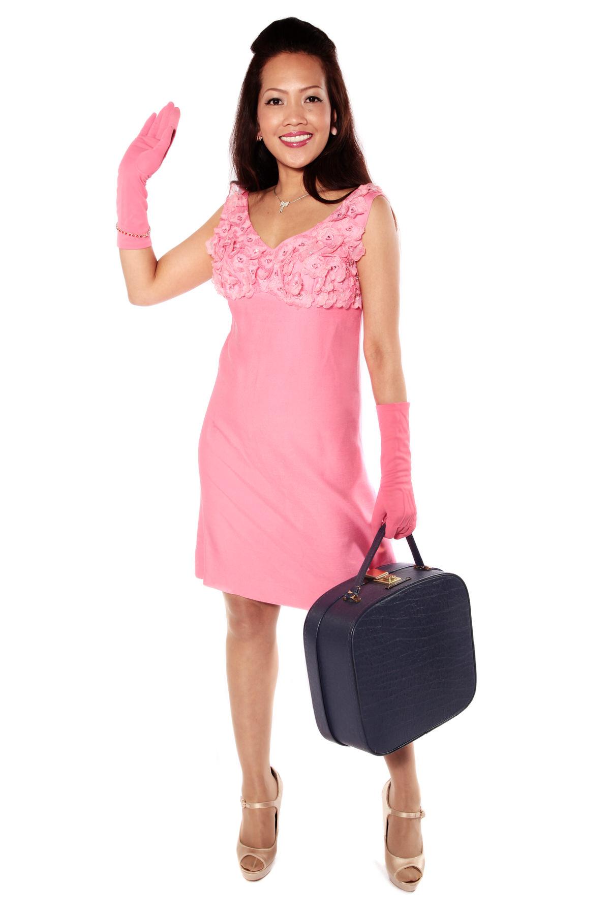 PINK 60s MINI DRESS COSTUME W MATCHING GLOVES