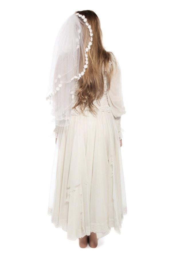 DEAD BRIDE WEDDING DRESS AND VEIL COSTUME back