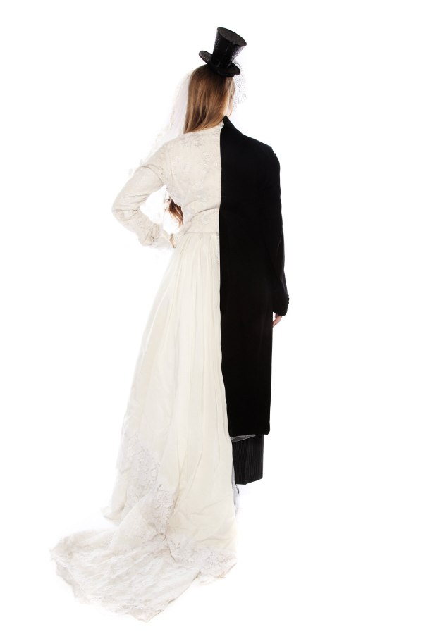 DEAD BRIDE AND GROOM WEDDING DRESS AND SUIT COSTUME back