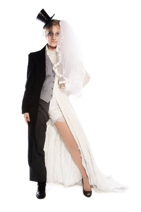 DEAD BRIDE AND GROOM WEDDING DRESS AND SUIT COSTUME alt