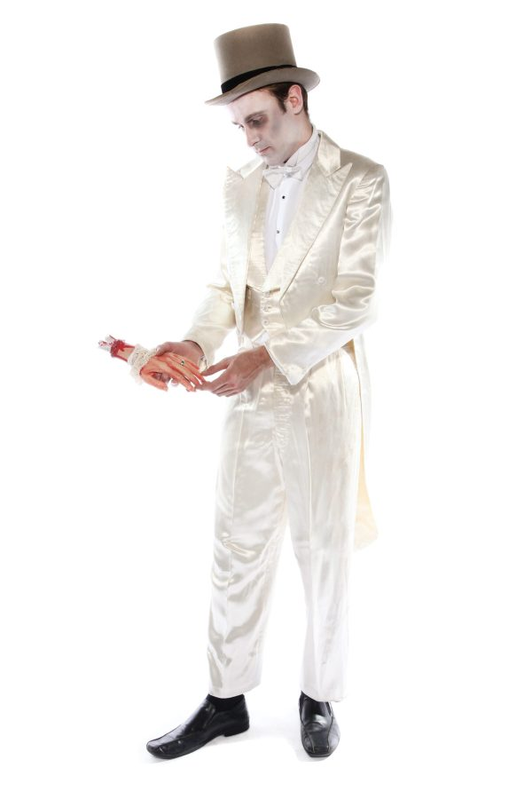 DEAD GROOM WHITE SATIN SUIT COSTUME ALT