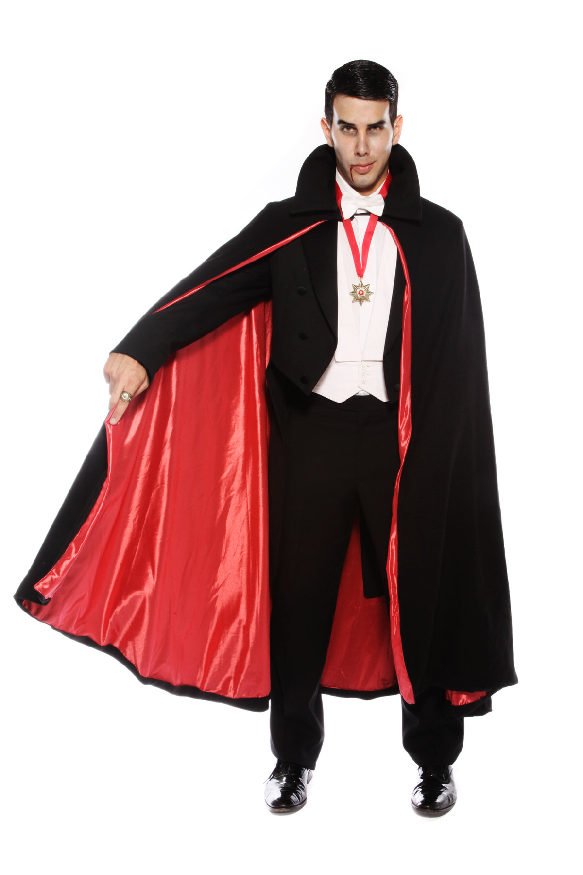 DELUXE DRACULA COSTUME WITH RED SATIN LINED CAPE