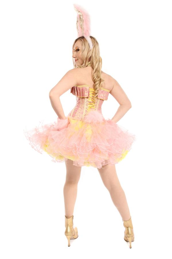 EASTER BUNNY GIRL PINK AND YELLOW COSTUME back