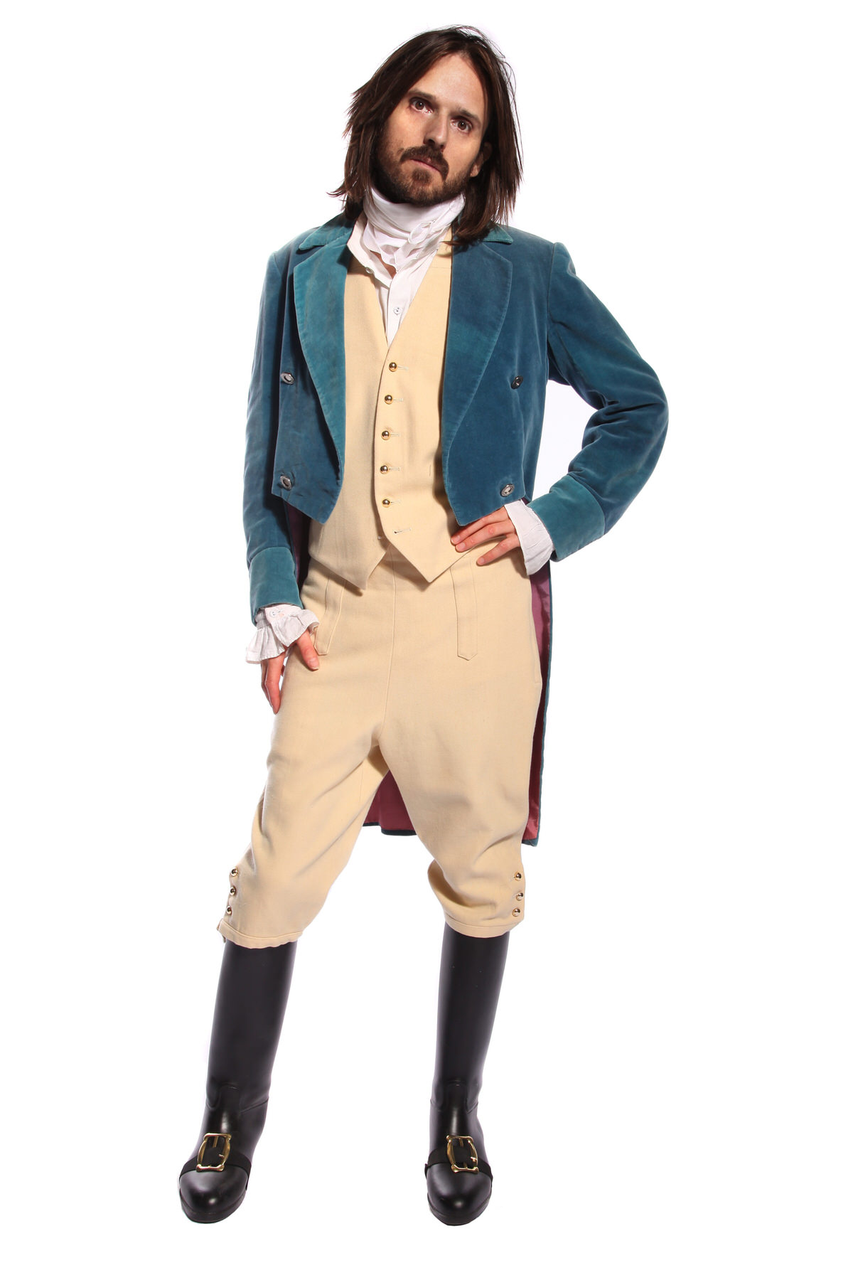 REGENCY GENT BLUE VELVET JACKET COSTUME