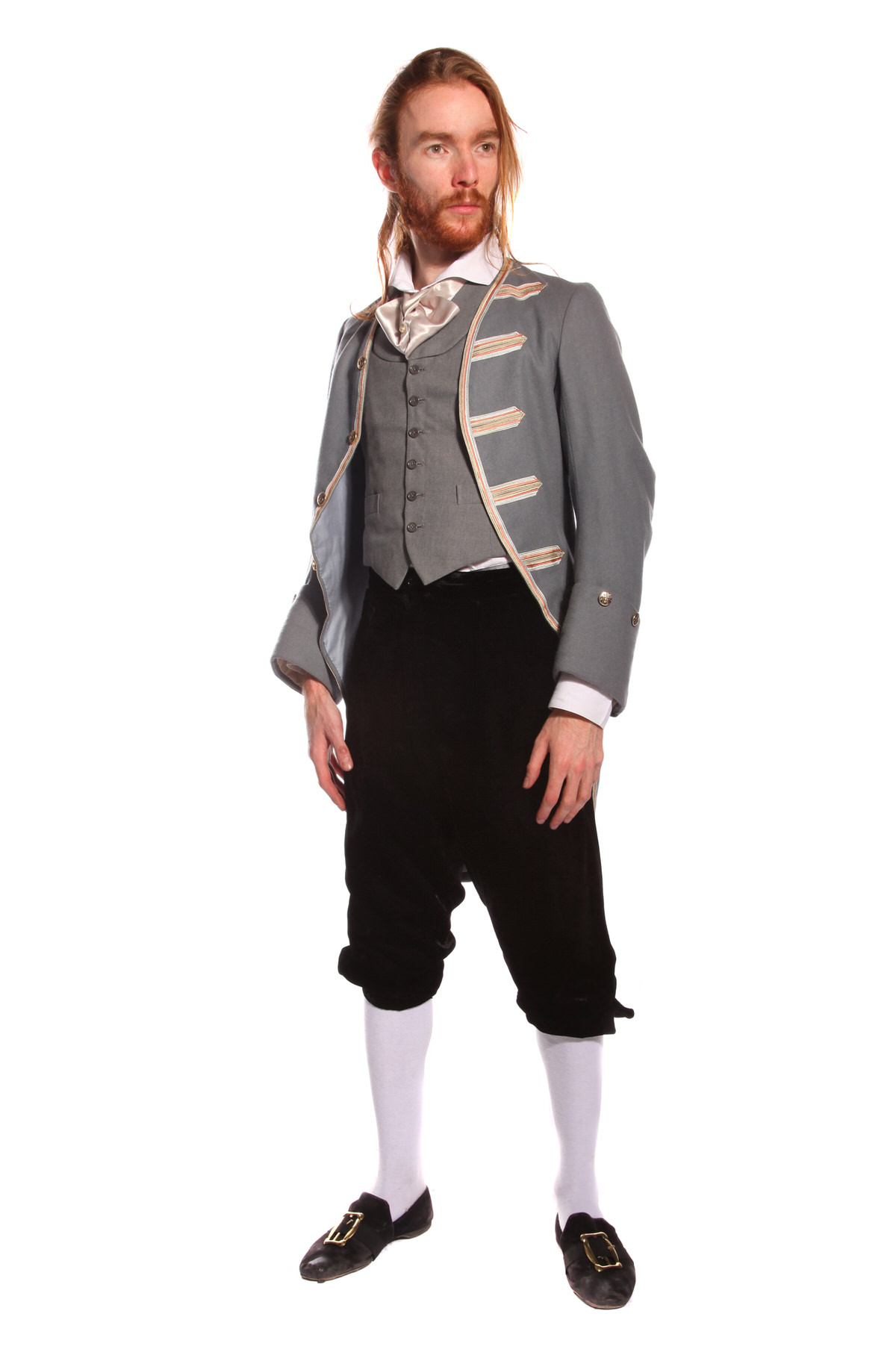 REGENCY GENT GREY COSTUME W VELVET BREECHES