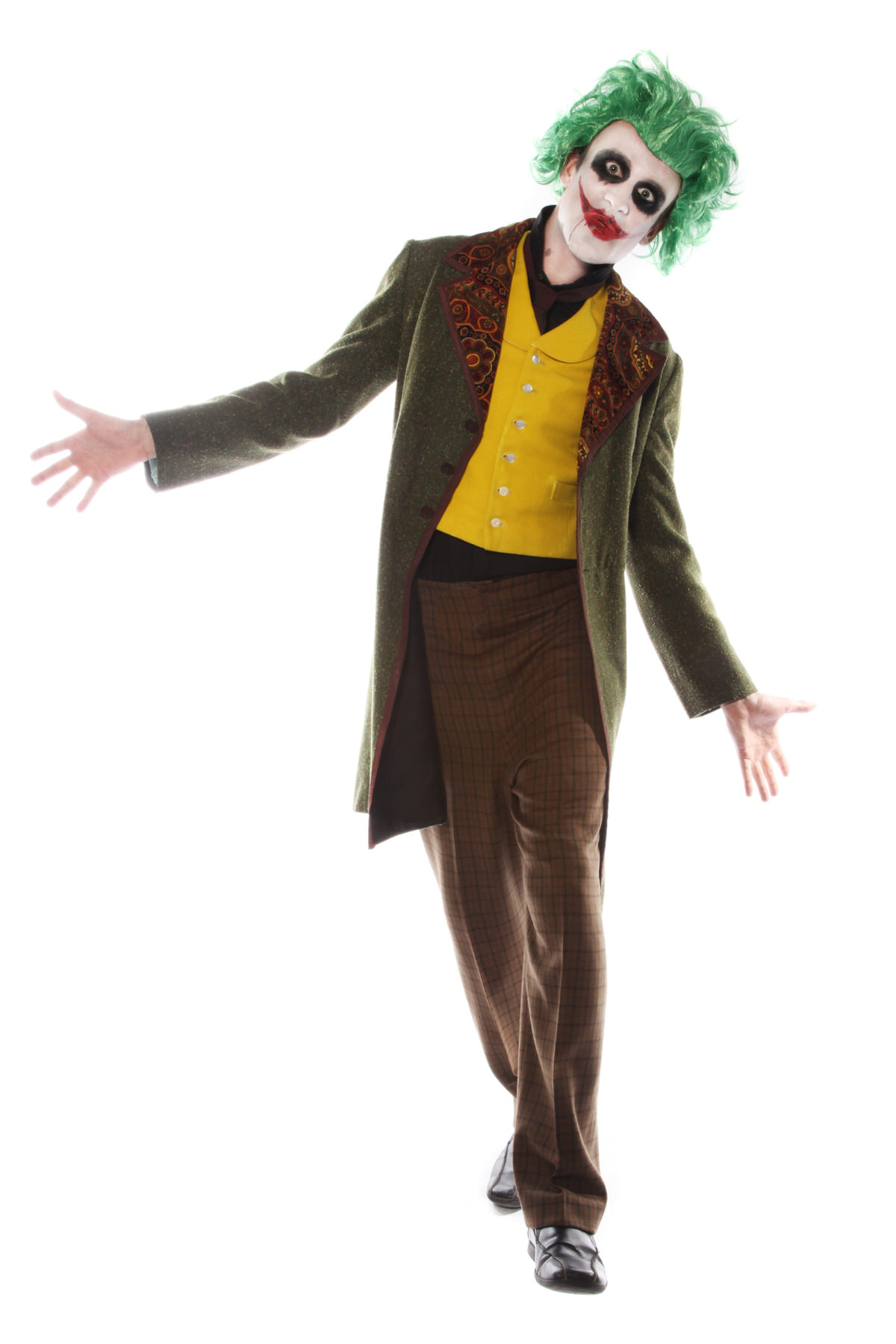 JOKER VILLAIN STYLE COSTUME W GREEN WIG