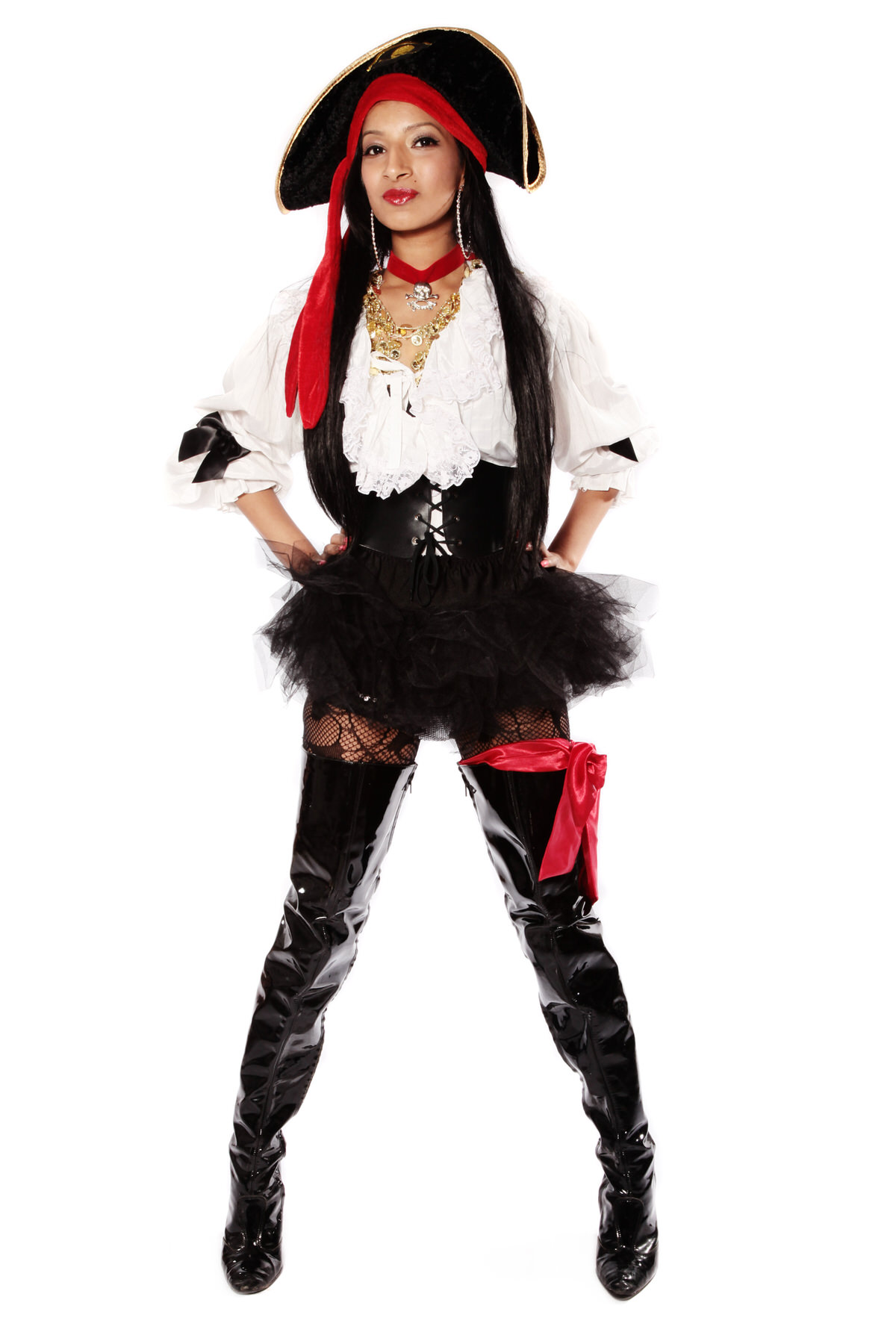 PIRATE GIRL IN BOOTS COSTUME W BLACK TU TU