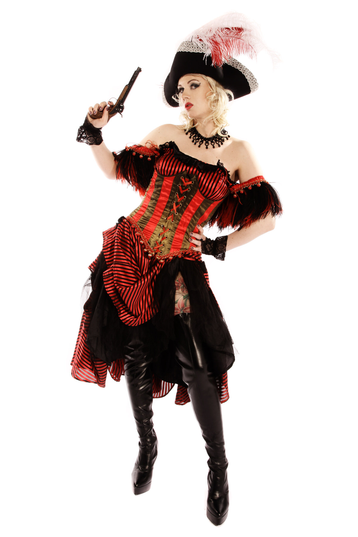 SWASHBUCKLER PIRATE LADY COSTUME W TRICORN HAT