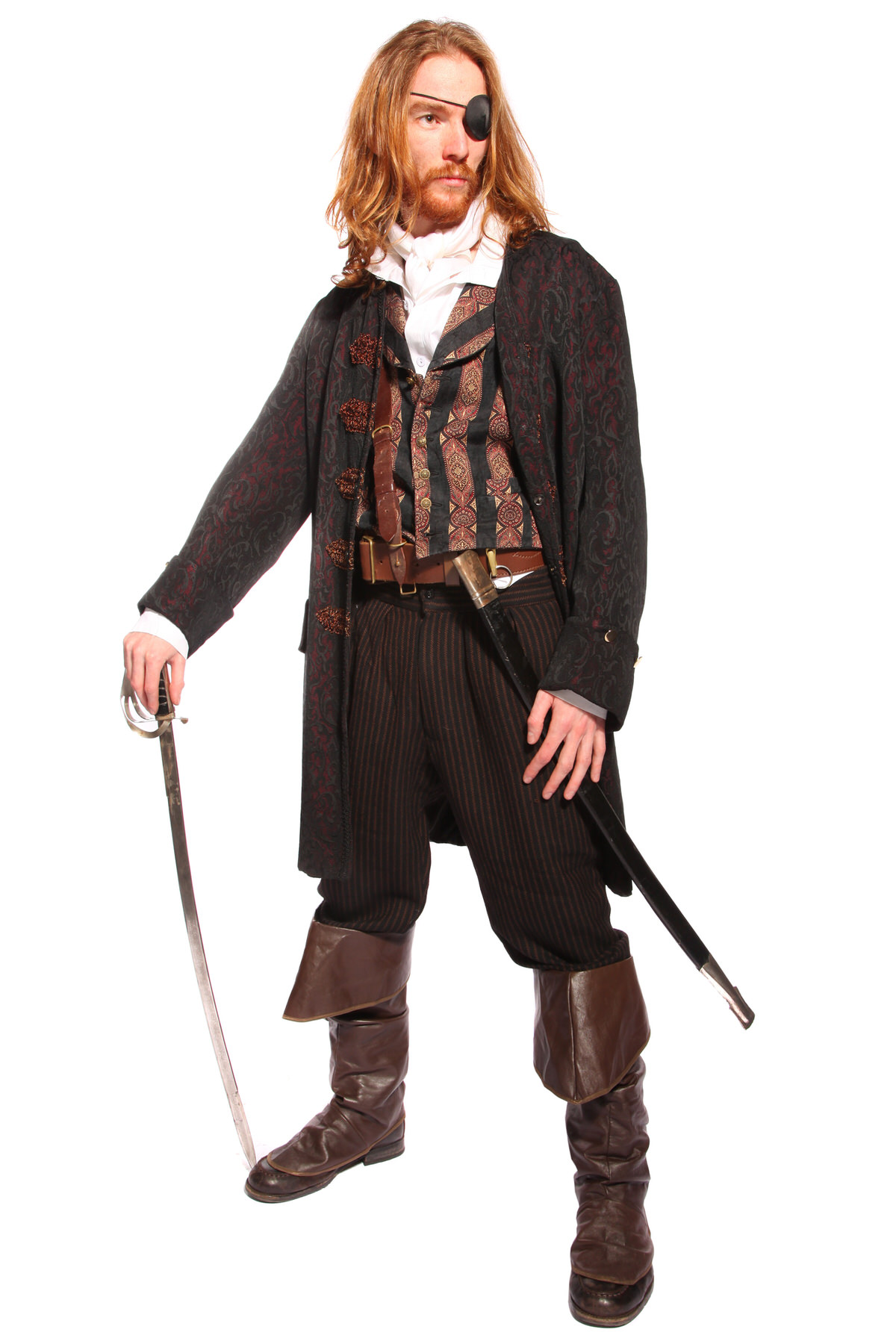 PIRATE ROGUE COSTUME WITH BROCADE FROCK COAT